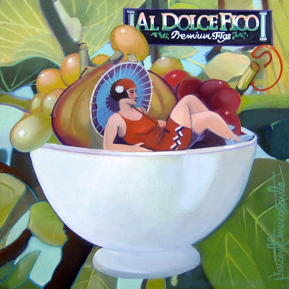 Al Dolce Fico, oil on panel 8inX8in 2012 N/A