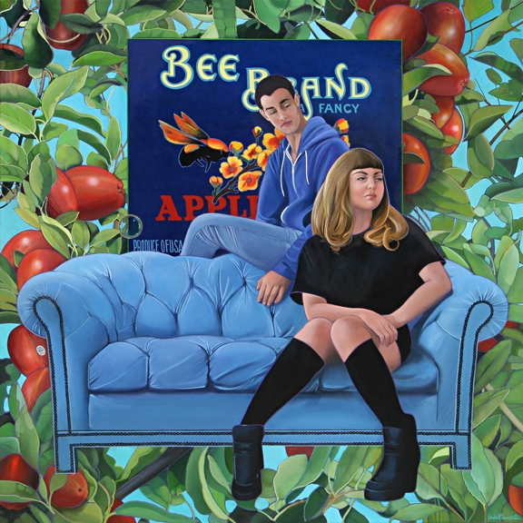 Bee Brand, oil on canvas 52inX5in 2014