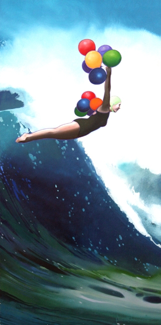 Ballon Diver, oil on panel 24inX12in 2011 N/A