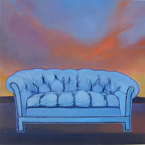 Blue Sofa for Sale V, oil on panel 8inX8in 2013 N/A