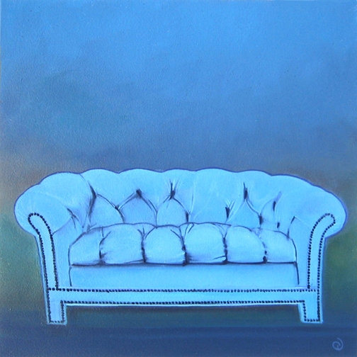 Blue Sofa for Sale I, oil on panel 8inX8in 2013 N/A