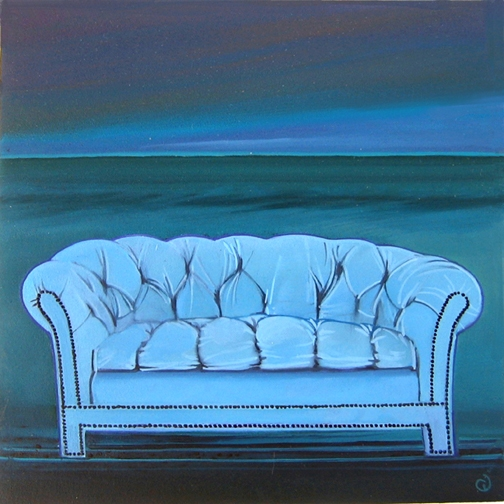 Blue Sofa for Sale III, oil on panel 8inX8in 2013 N/A