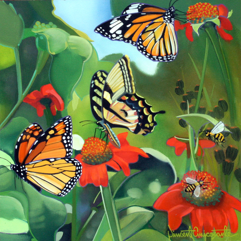 Butterflies and Bees II, oil on panel 10inX10in 2016 N/A