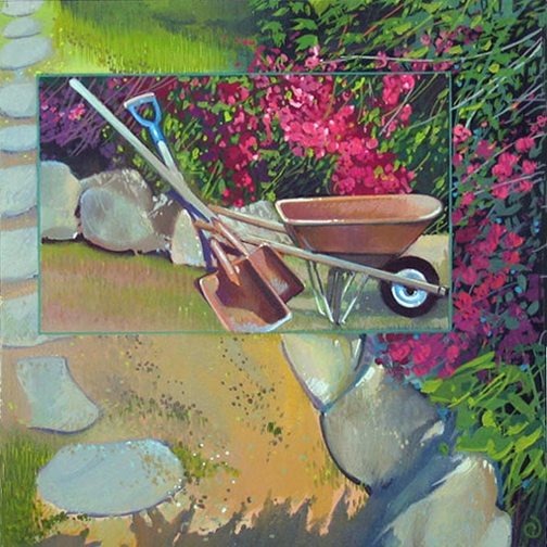 Gardening, oil on panel 8inX8in 2004 N/A