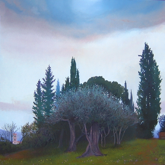 Ghirlandaio's Olive Trees, oil on panel 12inX12in 2002 N/A