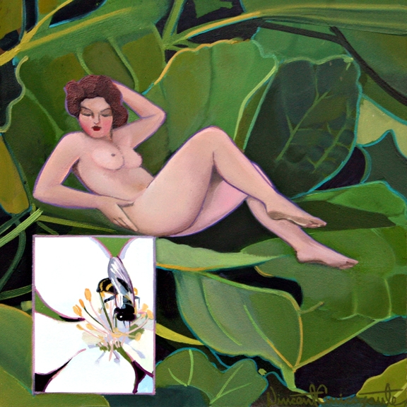 Pollination, Fig, oil on panel 8inX8in 2013 N/A