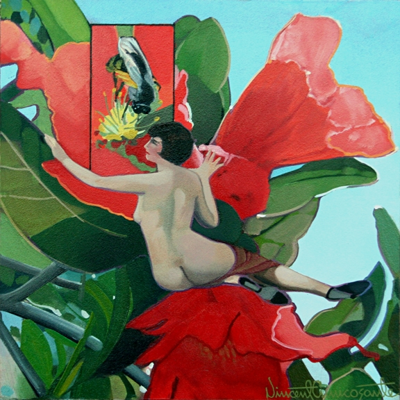 Pollination, Pomegranate, oil on panel 8inX8in 2013 N/A