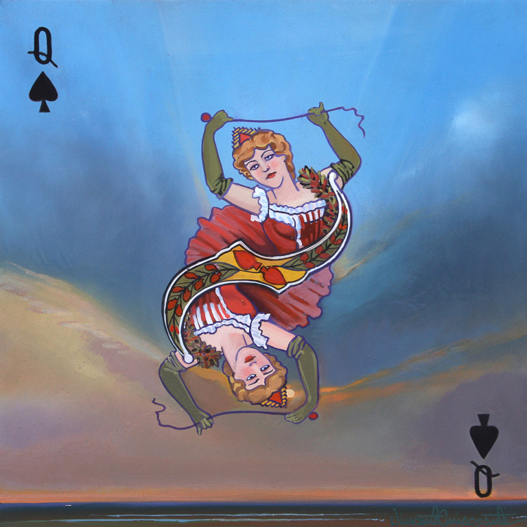 Queen of Spades, oil on panel 12inX12in 2016