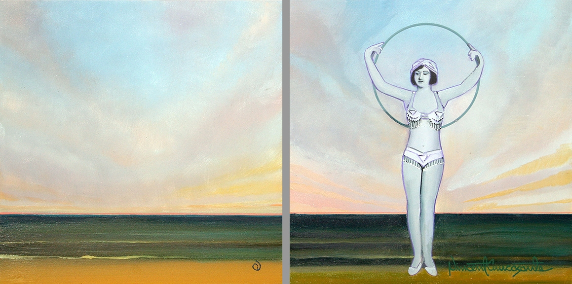 Sunset, Sunset with Figure 2-oil on panel 8inX8in N/A