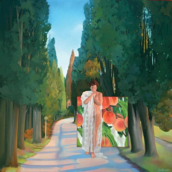 Italian Peaches, oil on canvas 48inX48in 2008