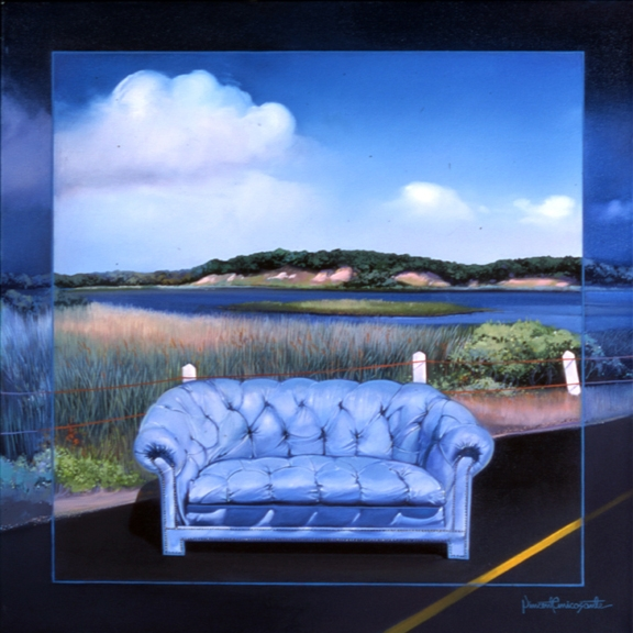 Blue Sofa, oil on canvas 30inX30in 2000 N/A