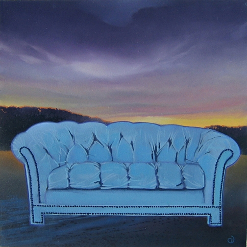 Blue Sofa for Sale IV, oil on panel 8inX8in 2013 N/A