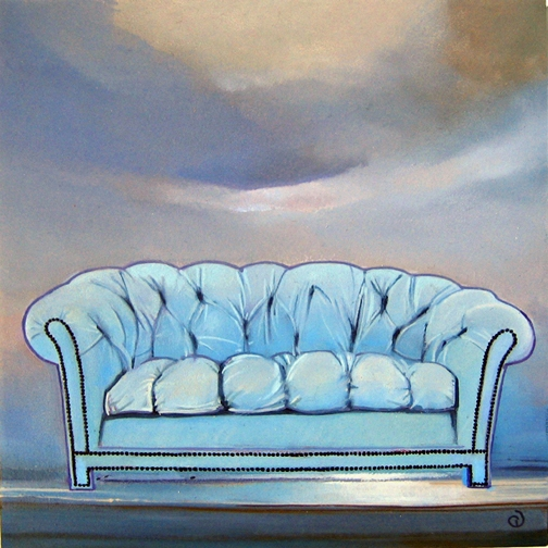 Blue Sofa for Sale II, oil on panel 8inX8in N/A