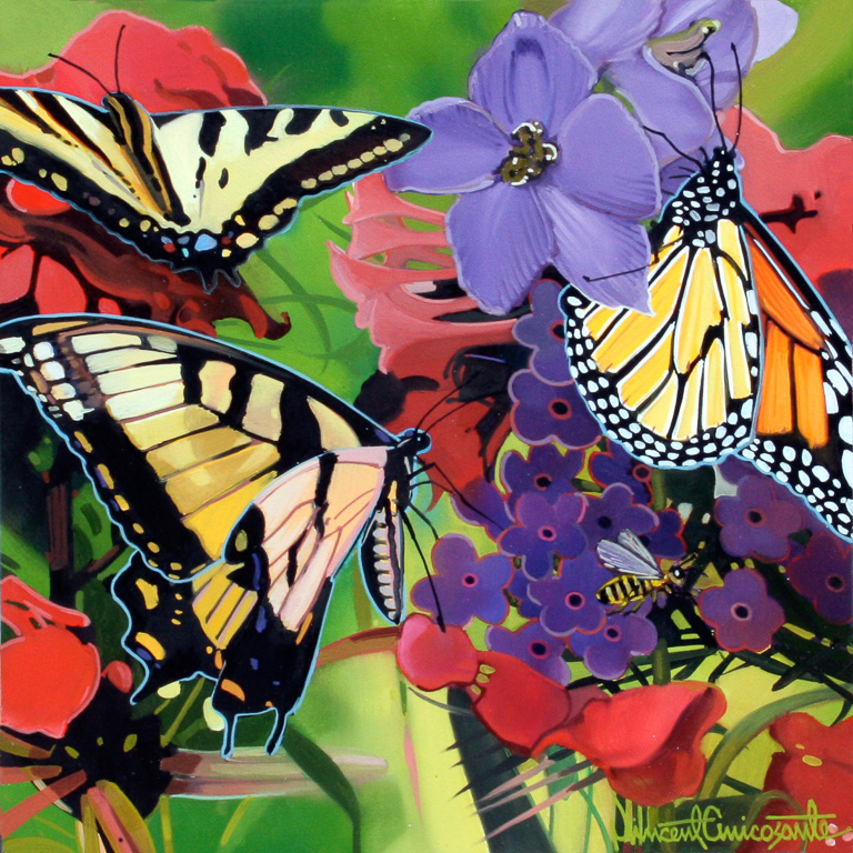 Butterflies and Bees III, oil on panel 10inX10in 2016 N/A