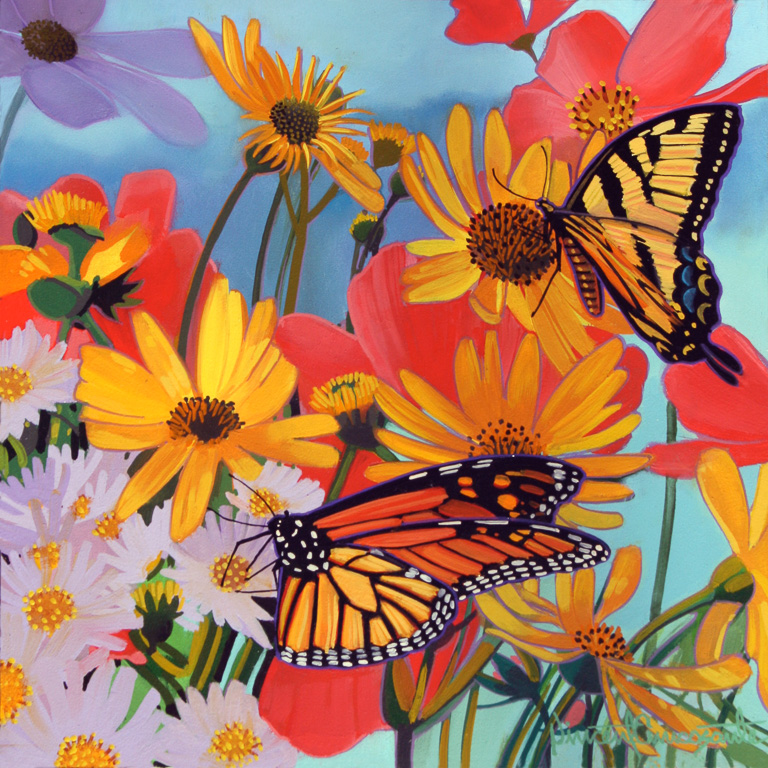 Butterflies and Bees I, oil on panel 10inX10in 2016 N/A