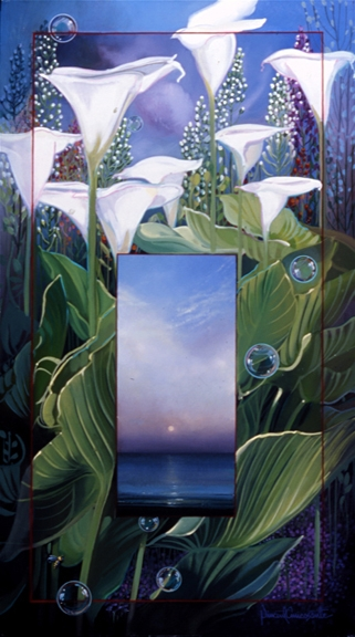 Calla Lilies, oil on canvas 28inX17in N/A