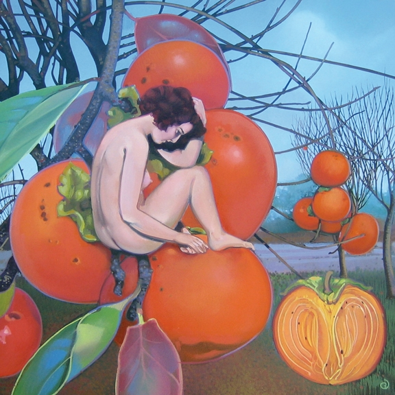 Persimmon I, oil on panel 12inX12in 2007 N/A