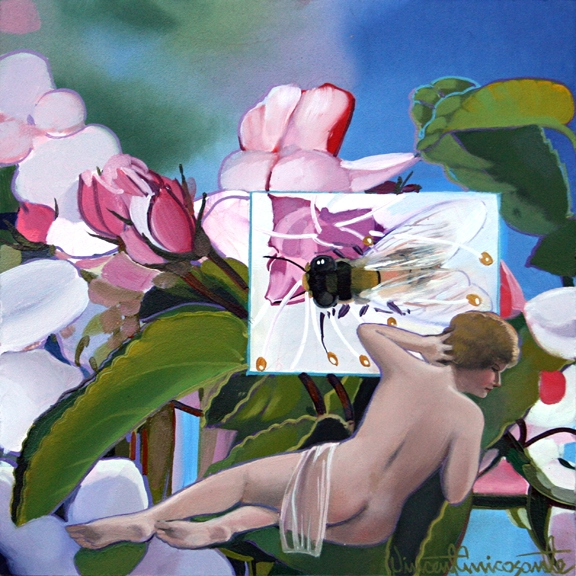 Pollination, Apricot, oil on panel 8inX8in 2013 N/A