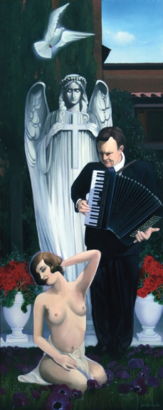 Playing for an Angel, oil on panel 60inX24in 2009