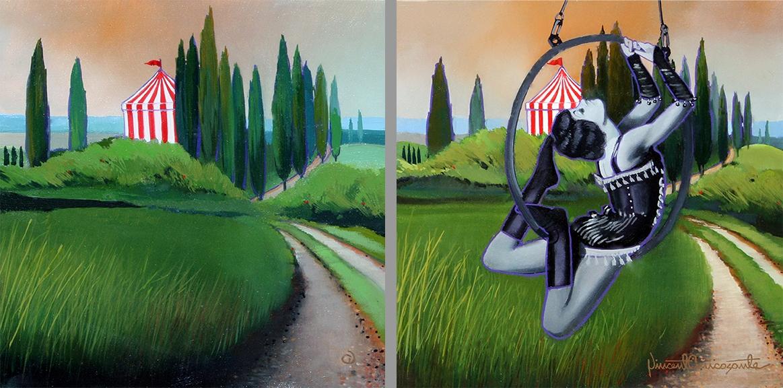 Italian Landscape, Italian Landscape with Figure, 2-oil on panel 8inX8in