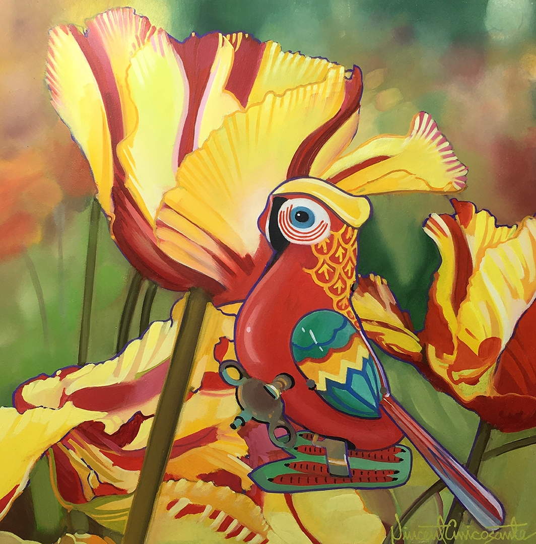 Parrot Tulips, oil on panel 10inX10in N/A