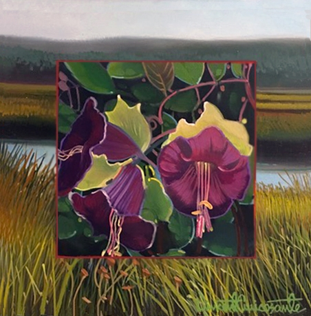 Cup and Saucer Vine, oil on panel 8inX8in