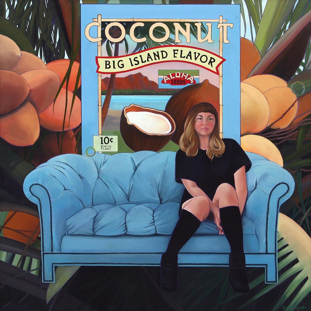 Coconut, Big Island Flavor, oil on canvas 52inX52in 2020