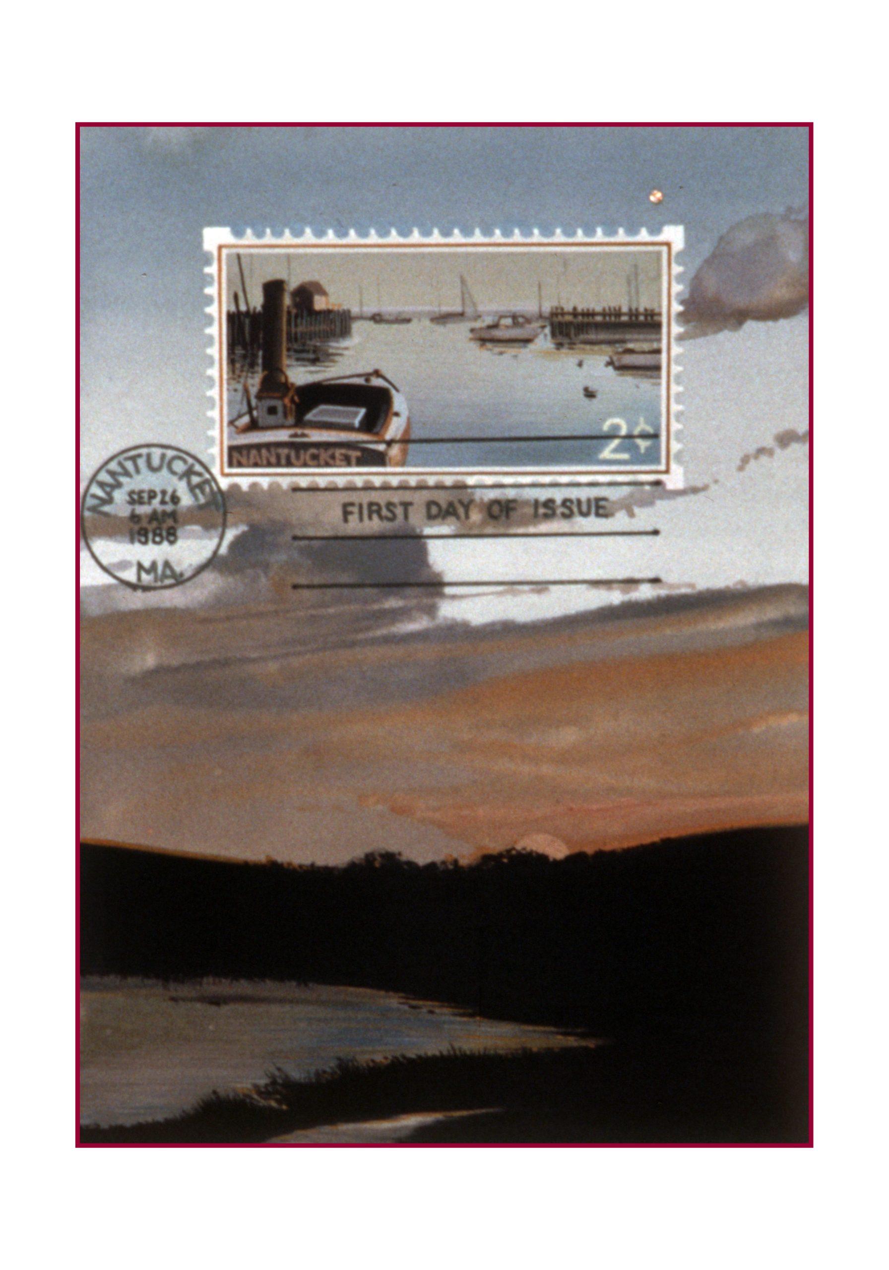 Island Postage, gouache 7inX5in 1990
